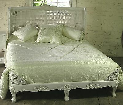 "Mahogany Carved 4' 6"" Double Size French Ant White Bed Rattan Head Board  New"