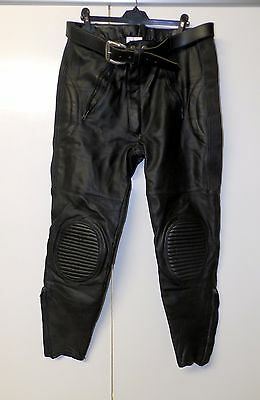 """Mens Stein Leathers Black Leather Biker Trousers With Belt Size 36"""""""