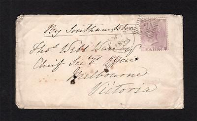IRELAND POSTAL HISTORY: 6d NO CORNER LETTERS ON 1863 COVER TO AUSTRALIA