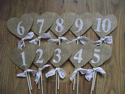 1-10 Hessian Heart Wedding Table Numbers Burlap Rustic Birthday Party Decoration