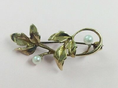 Vintage 9Ct Gold & Pearl Brooch Pin 1994