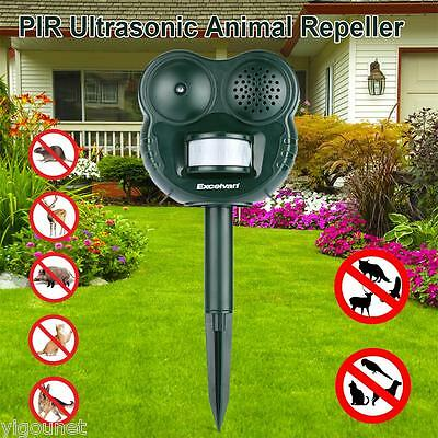 PIR Ultrasonic Garden Animal Scarer PIR Deterrent Cat Dog Fox Repeller UK Ship
