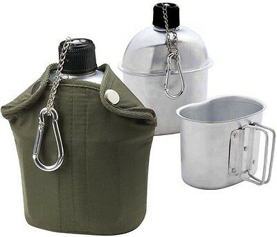 Army Military Styled Aluminum Drinking Bottle Canteen w/ Cover, Clip & Water Cup