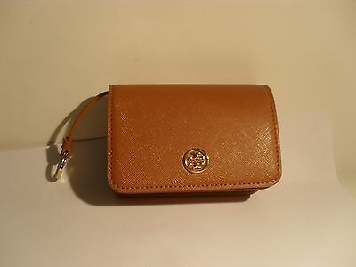 TORY BURCH NWT Robinson  Foldable Card Case Luggage Brown
