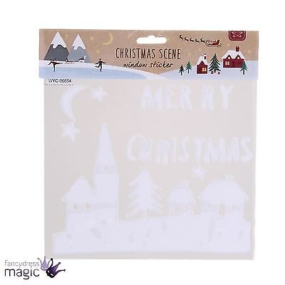 Merry Christmas Xmas Snow Village Town Scene Window Sticker Gel Decal Decoration