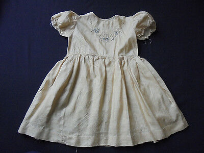Handmade Edwardian Girl's Embroidered Gold Silk Dress - French? For Re -work