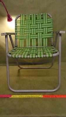 Vintage Green Folding Aluminum Webbed Lawn or Deck Chair