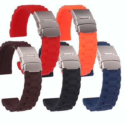 Black/Red/Orange Silicon Rubber Folding Clasp Safety Watch band Wristwatch strap