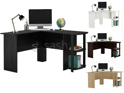Livivo Wooden L-Shaped Office Home Pc Computer Desk W Book Shelves Corner Table