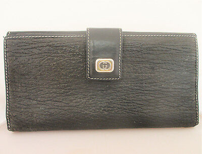 Vintage Gucci Black Pebbled Leather Bi-fold Checkbook Wallet