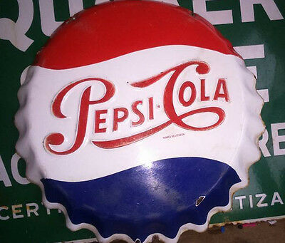 """Vintage  MEXICAN  1955  Enameled Sign Co Pepsi Cola Cap   Raised Letters 18 3/4"""""""