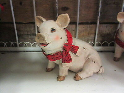 New Adorable Resin pink Christmas Pig Figure,Unique Holiday Decor