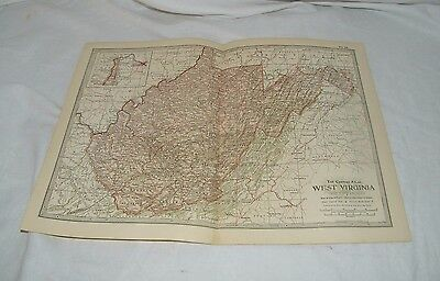 Vintage West Virginia Map THE CENTURY DICTIONARY AND CYCLOPEDIA 1906 19112