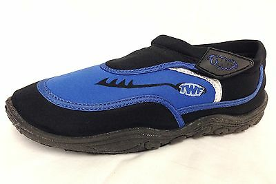 Childrens TWF Touch fastener Aqua Surf Wetsuit Shoes Black and Blue. Sizes UK
