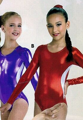 NWT Long Sleeve Foil Leotard Red Silver Gymnastics Leotard Ladies/Girls 97113