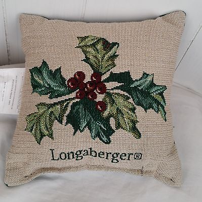 """Longaberger green beige tapestry christmas holly small Pillow 9"""""""