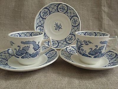Pair of Old Chelsea Furnivals Coffee Cups and Saucers. Demi-Tasse & Spare Saucer