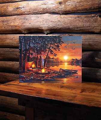 Tent and Canoe Camping Lighted Picture 73132 NEW