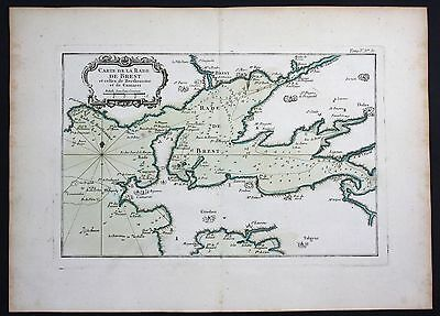 1764 - Rade de Brest Bretagne Crozon sea chart Bellin map carte gravure