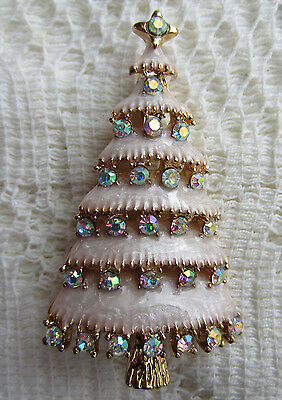 Victorian Christmas Tree Austria Ab Crystal Gold Plate Brooch Pin