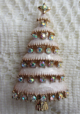Vintage Style Victorian Christmas Tree Austria Ab Crystal Gold Plate Brooch Pin