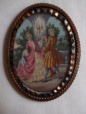 "Stunning Antique 5"" Silk Petit Point Embroidery Framed Picture ~ Minuet Dance"