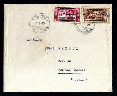 13818-LEBANON-OLD COVER BEYROUTH to TRIPOLI.1932.WWII.Liban.enveloppe.LIBANO