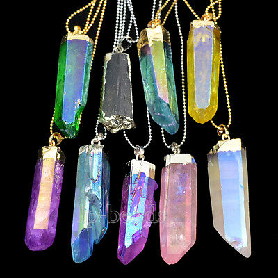 Natural Gemstone Crystal Rock Titanium Coated Pendant Beads 18K Gold Plated