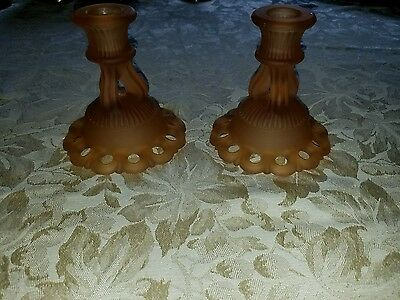 Pair Vintage Amber Chocolate Glass Candlesticks Candle Holder Westmoreland Doric