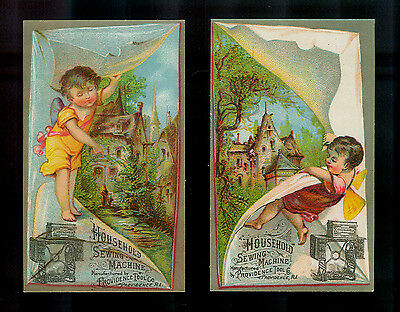 Little Winged Fairies Reveal Paintings-2 Victorian Trade Cards