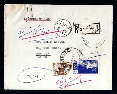 13820-LEBANON-registered COVER TRIPOLI to BEYROUTH.1956.Liban.enveloppe.LIBANO