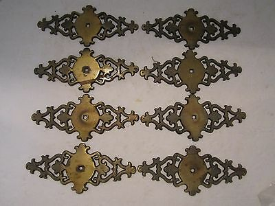 "vintage lot of 8 antique brass dresser cabinet plates. ornate. scroll. 6.5"" x 3"""