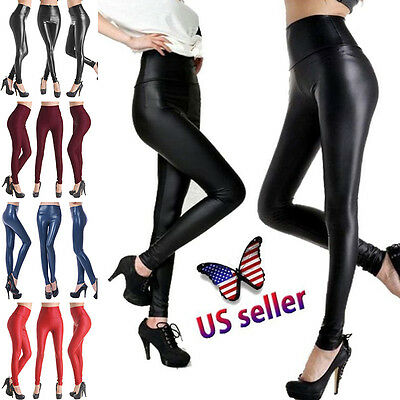 Women Stretchy Faux Leather Trousers Skinny High Waist Leggings Pencil Pants US