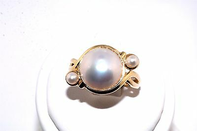Contemporary Mabe Pearl 14K Yellow Gold Ring
