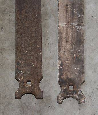 "Nice Pair Of Very Large 64"" Long Antique Hand Forged Iron Barn Door Strap Hinges"