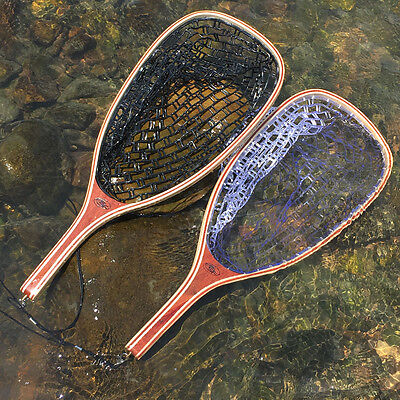 SF Wood Rubber Fly Fishing Trout Landing Net Catch and Release Streamside
