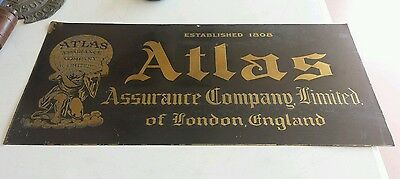 ATLAS ASSURANCE COMPANY LIMITED OF LONDON ENGLAND EST.1808 BRASS etched sign