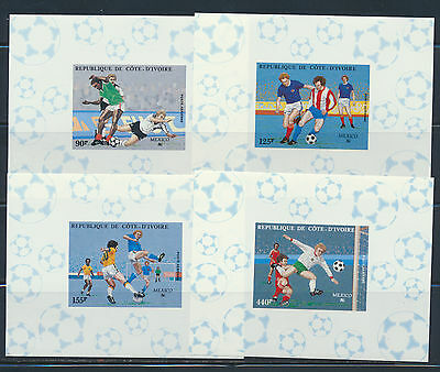 Ivory Coast Imperf Deluxe Sheets Soccer Wc Mexico 1986