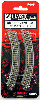 Rokuhan R005 R145mm 45º Curved Track 4 pcs. (1/220 Z Scale)