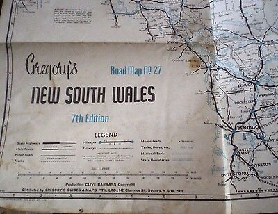 NSW Vintage GREGORY'S LARGE FOLD-OUT ROAD MAP No. 27 - 7th EDITION