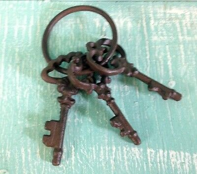 Chamber Skeleton Key Ring Cast Iron Wall Mount Rustic Old Fashioned New Vintage