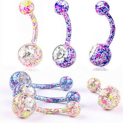2xBody Piercing Jewelry Crystal Rhinestone Dangle Button Belly Navel Rings Bars2