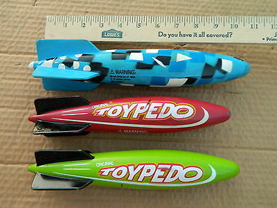 LOT OF 3X Swimming Pool Toypedo Torpedo Original Dive Toy Kids Pond Diving