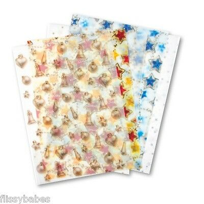 5 Sheets Assorted Christmas Vellum 115gsm Sheet Size 33cm x 23cm NEW