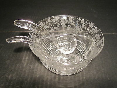 Scarce Cambridge Rosepoint Double Divided Condiment With 2 Spoons Set