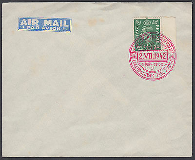 1942 Czecholovak Field Post red SHS; GB KGVI 1/2d green; see scans