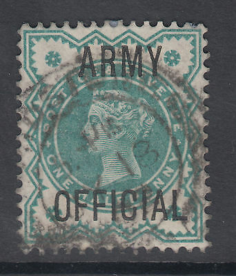 QV SG 1/2d blue-green ARMY OFFICIAL; see both scans