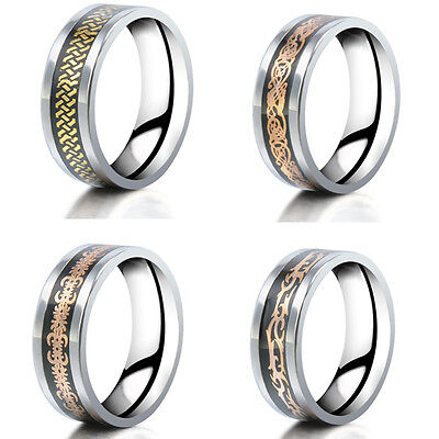 Vintage Silver  Titanium Stainless Steel Men's Wedding Band Rings Jewelry Gift