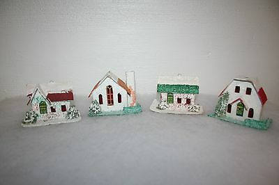 Lot Of 4 - Putz Houses - Stamped Japan