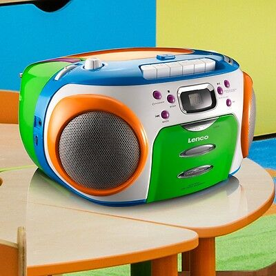 Kinder Boombox Stereo Toplader CD Radio MP3 Kassetten Player tragbar LCD Display
